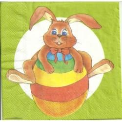 Serwetka do decoupage - królik i tęczowa pisanka