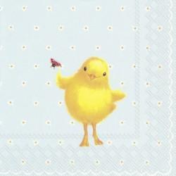 Serwetka do decoupage - wielkanocny kurczak z biedronką