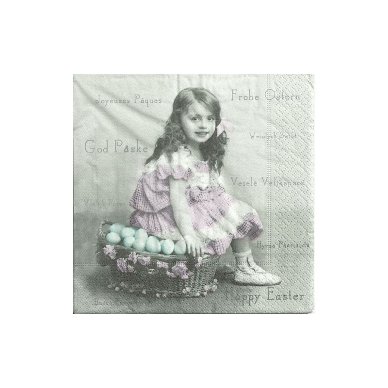 Serwetka do decoupage - dziewczynka vintage z pisankami - Sagen