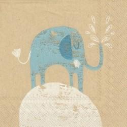 Serwetka do decoupage - Niebieski słonik, mini
