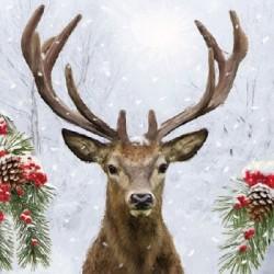 Serwetka do decoupage - Zimowy jeleń