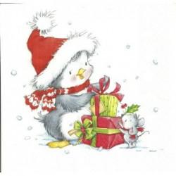 Serwetka do decoupage - Zimowy pingwinek