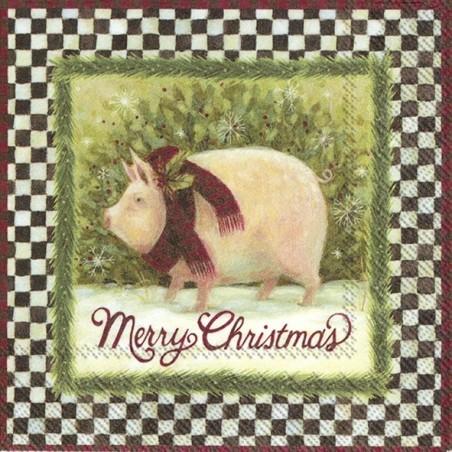 Serwetka do decoupage - Świnka w szaliku, merry christmas