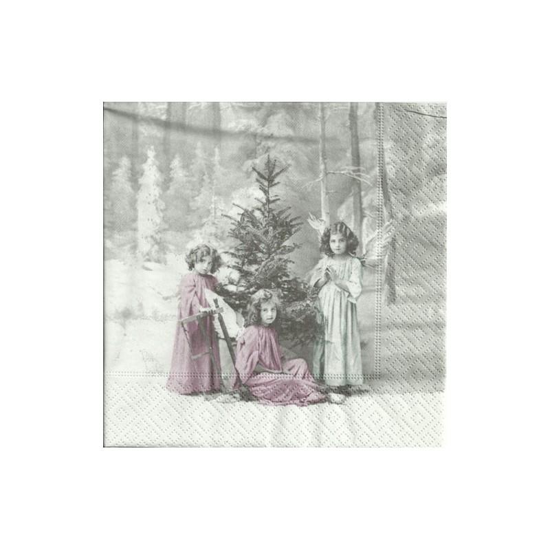 Serwetka do decoupage Sagen - Vintage 40 - dziewczęta i choinka
