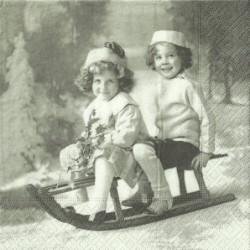 Serwetka do decoupage Sagen - Vintage 42, dzieci na sankach