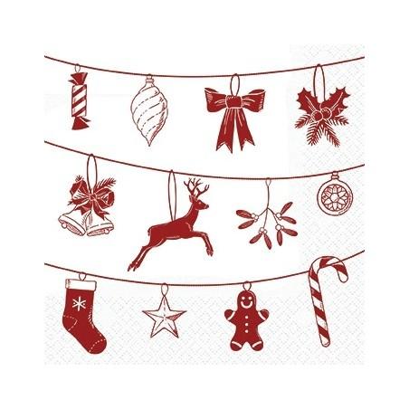Serwetka do decoupage - Czerwone symbole świąteczne