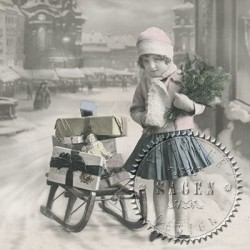 Serwetka do decoupage - Vintage 50, dziewczynka z saniami, Sagen