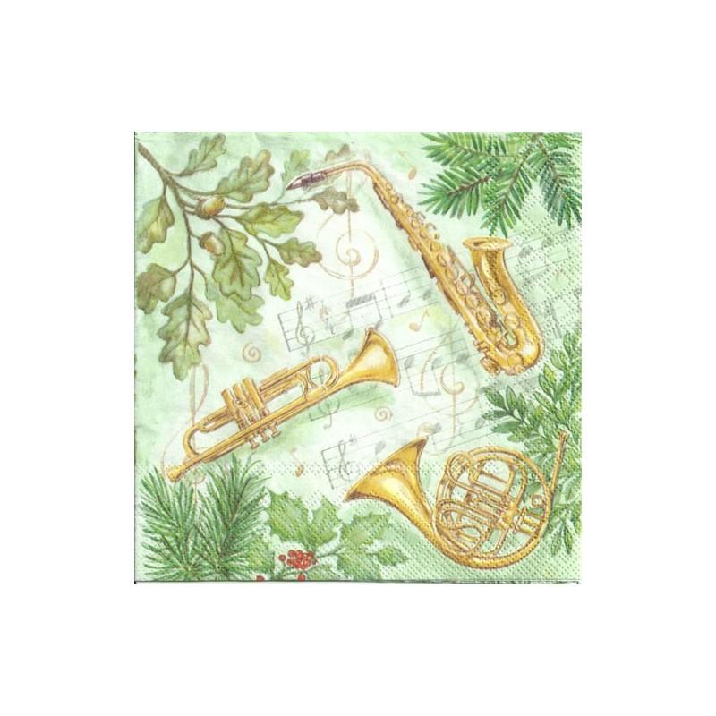 Serwetka do decoupage - Świąteczna muzyka