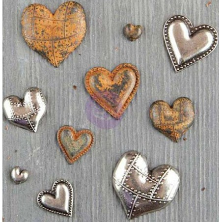 Ozdoby retro, Prima Marketing Mechanicals, Tin Hearts [963361]
