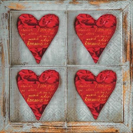 Serwetka do decoupage - Cztery serca