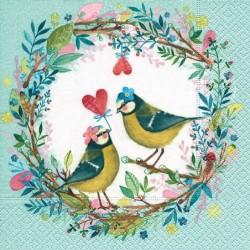 Serwetka - Zakochane ptaszki