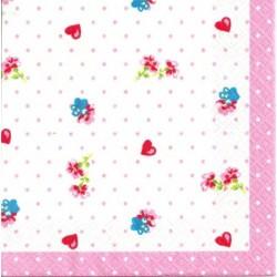 Serwetka do decoupage - Różowe kropki i serca