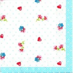 Serwetka do decoupage - Niebieskie kropki i serca