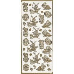 Ażurowe naklejki peel-off, Wielkanoc - złote pisanki i króliczki