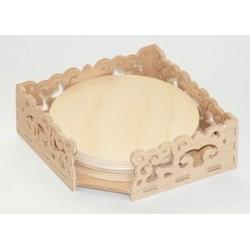 Ażurowe pudełko z okrągłymi podkładkami pod kubek