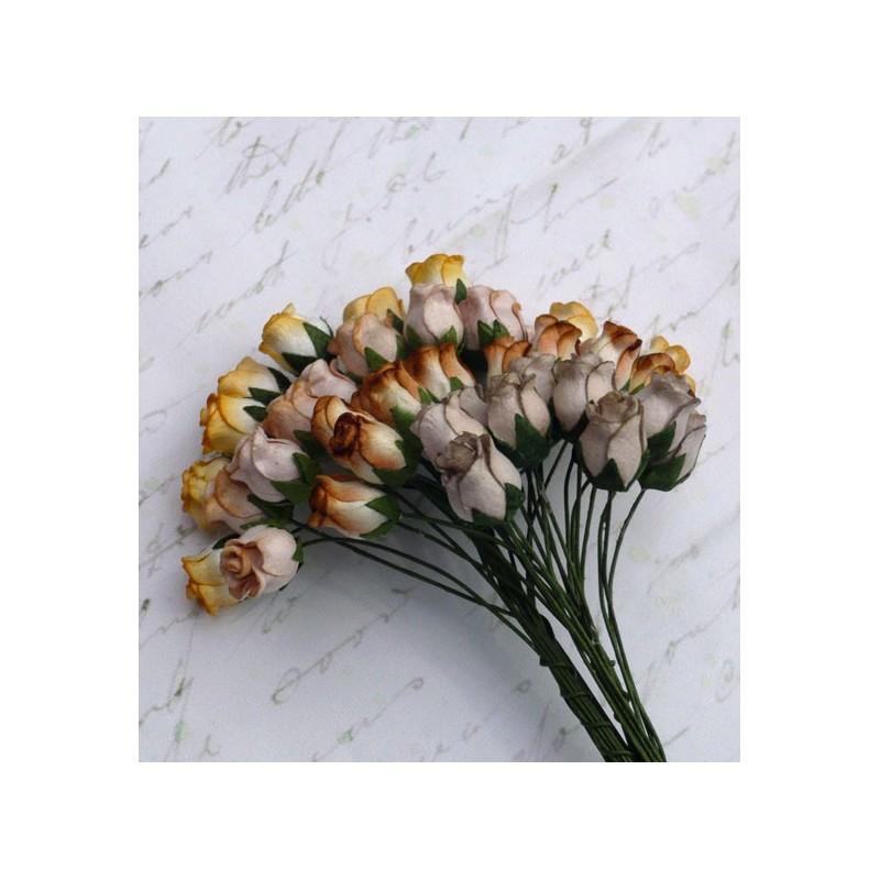 Kwiatki papierowe, bukiet różyczek, Mixed Earth Tone Hip Rosebuds SAA-086, 40 szt.