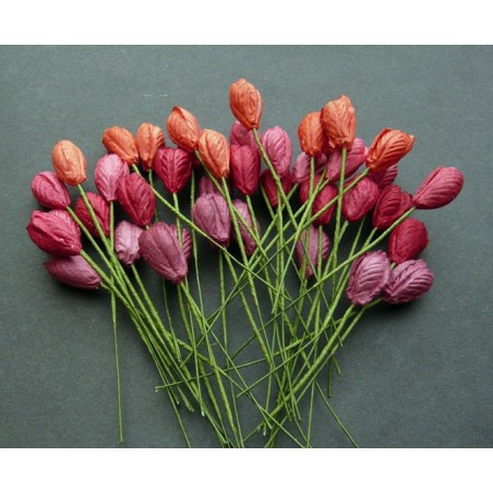 Kwiatki papierowe, Mixed Red Tone Mulberry Paper Tulip Flowers, 8 szt. [SAA-124]