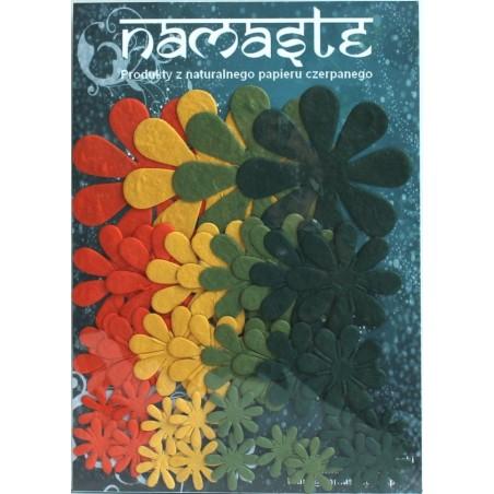 Kształty z papieru czerpanego, Kwiaty zielone żółte i pomarańczowe [GW_106]