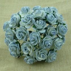 Kwiatki do scrapbookingu 2-Tone Antique Blue Mulberry Open Roses SAA-352 10 mm, 10 szt.