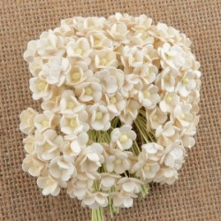 Kwiatki do scrapbookingu Miniature Ivory Sweetheart Blossom Flowers SAA-440 10 mm, 20 szt.