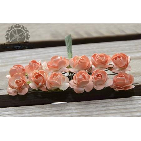 Bukiecik różyczek 1.5 cm, brzoskwiniowe, 12 szt. [MK16551]
