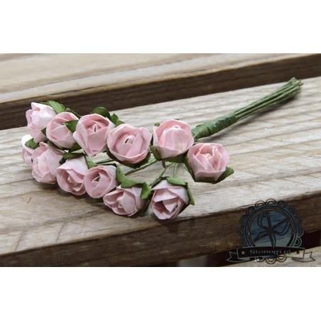 Bukiecik różyczek 1 cm, różowe, 12 szt. [J927A]