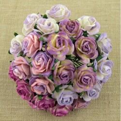 Kwiatki do scrapbookingu Mixed Purple Lilac White Open Roses SAA-255 20 mm, 10 szt.