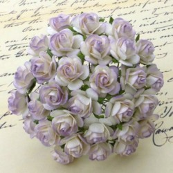 Kwiatki do scrapbookingu 2-Tone Pale Lilac Mulberry Open Roses SAA-031 15 mm, 10 szt.