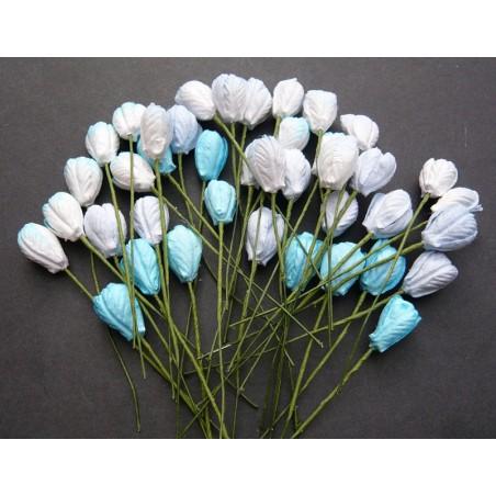 Kwiatki papierowe, Mixed Blue Tone Mulberry Paper Tulip Flowers, 8 szt. [SAA-130]