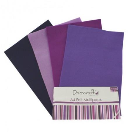 Zestaw filcu w arkuszach A4, Purple [Dovecraft]