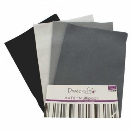 Zestaw filcu w arkuszach A4, Black & Greys [DCFL023]