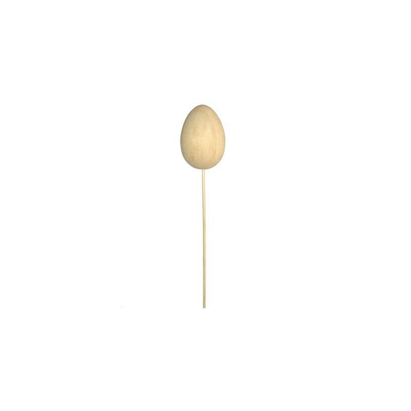 Jajko drewniane na patyku, do decoupage, małe