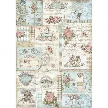 Papier ryżowy A3 [DFSA3006], Anioły i róże