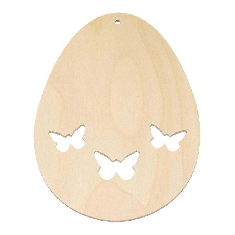 Zawieszka ze sklejki - jajko z wyciętymi motylkami