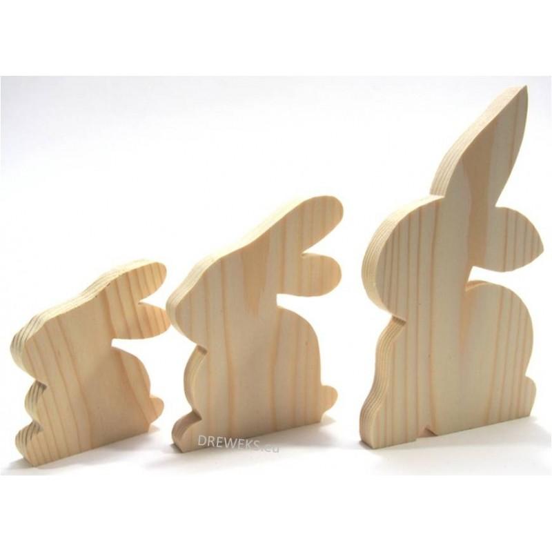 Drewniany królik do ozdabiania - duży