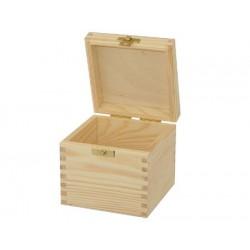 Drewniane pudełko kwadratowe. Pojemnik kuchenny - na kawę lub herbatę.