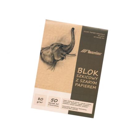 Blok szkicowy z szarym papierem A5, 50 kartek [Leniar]
