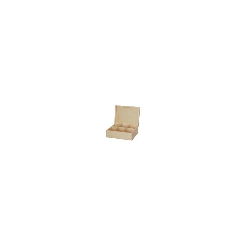 Pudełko herbaciarka do decoupage - 6 przegródek