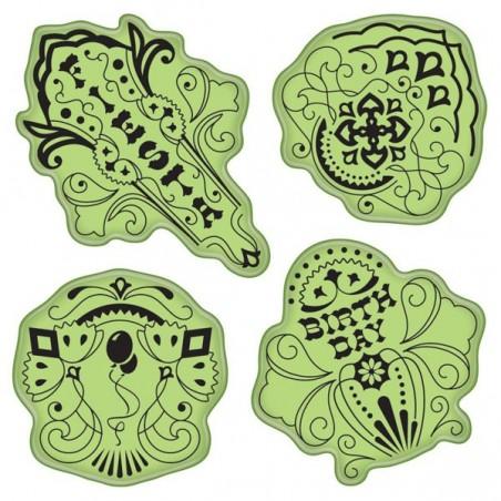 Stemple gumowe Inkadinkado Stamping Gear Cling Stamps, Birthday Fiesta - WYPRZEDAŻ