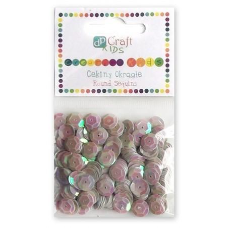 Cekiny okrągłe 9 mm, srebrne - różowe perłowe, 10 g [DPCE-005]