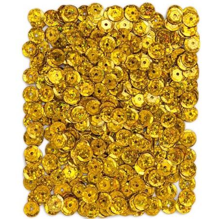 Cekiny holograficzne 9 mm, złote ciemne, 15 g [DPCE-071]