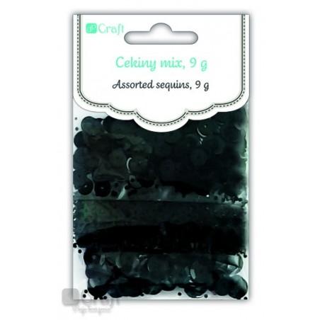 Cekiny mix, czarne, 9 g [DPCE-051]