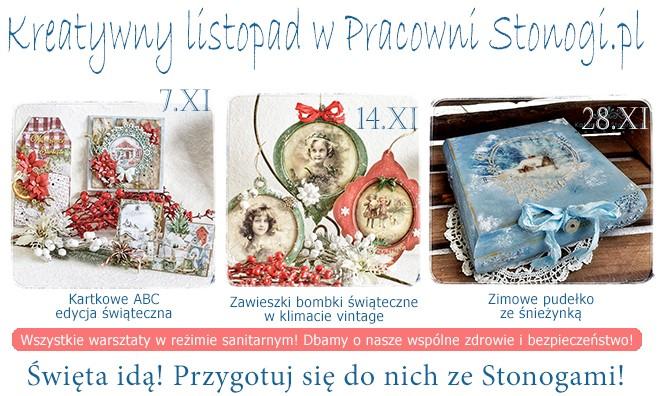 Warsztaty kreatywne - scrapbooking, decoupage - listopad w Stonogi.pl